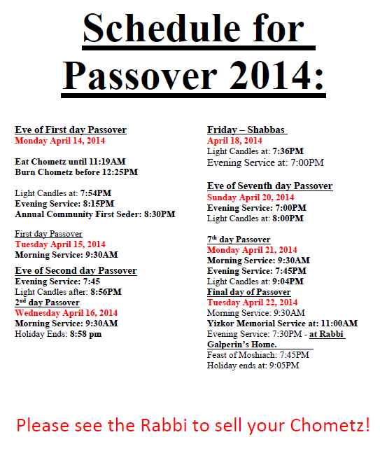 Schedule for Passover 2014