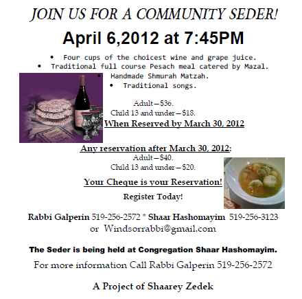 Join us for our 1st seder