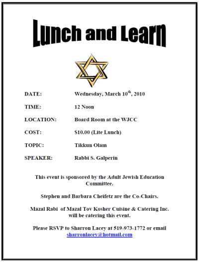 Lunch and Learn with Rabbi Galperin